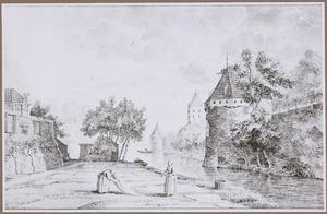 Utrecht, gezicht vanaf het Begijnebolwerk op de stadsmuur met de waltorens De Beer en De Vos, en de Plompetoren