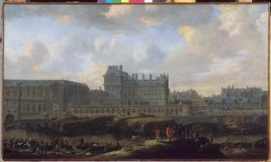 Gezicht op het oude Louvre en het Hotel du Petit-Bourbon in Parijs, vóór de verbouwingen van Louis XIV
