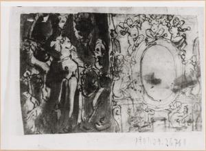 Schetsboekblad met twee voorstellingen
