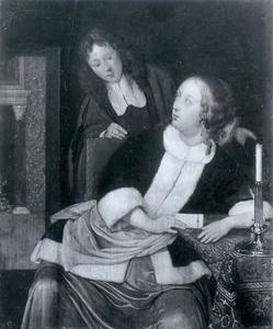 Vrouw met een brief en toekijkende jongen