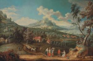 Uitgestrekt berglandschape met figuren