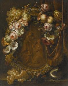 Stilleven met een bloemenguirlande en vruchten rondom een relief van Christus in Gethsemane