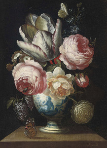 Bloemstilleven met pioenrozen en tulpen