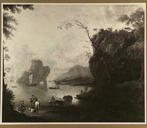 Gezicht op een baai; in de voorgrond een herder met vee en een ruiter