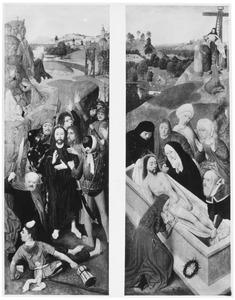 De gevangenneming (links) en de graflegging (rechts)