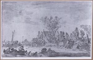 Dorp aan een rivier met vissers and andere figuren
