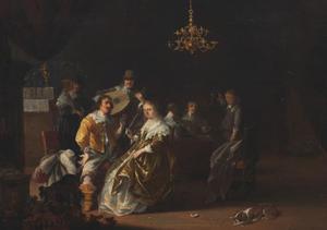 Elegant gezelschap in een interieur met een luit spelende man