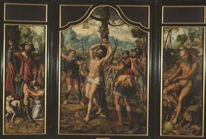 H. Rochus (binnenzijde linkerluik), Martelaarschap van de H. Sebastiaan (middenpaneel), een heilige heremiet (binnenzijde rechterluik); de H. Petrus (buitenzijde linkerluik), H. Stefanus (buitenzijde rechterluik)