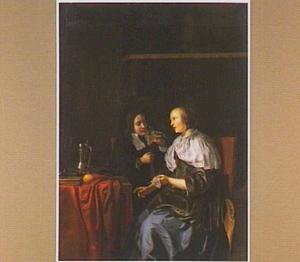 Interieur met een jonge man en vrouw converserend aan een tafel