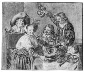 Vrolijk etend gezelschap aan tafel