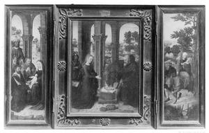 De aanbidding van de Wijzen (links); De geboorte (midden); De vlucht naar Egypte (rechts)