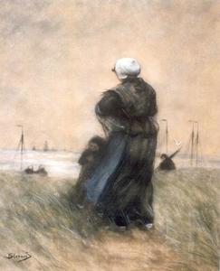 Vrouw en kind wachtend op het duin
