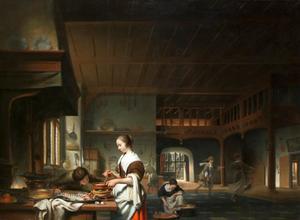 Keukeninterieur met vrouw die voedsel bereidt