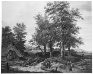 Landschap met beek en boerderij