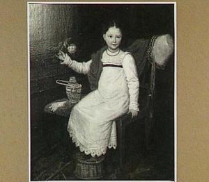 Portret van een zittend meisje met een roos in haar hand