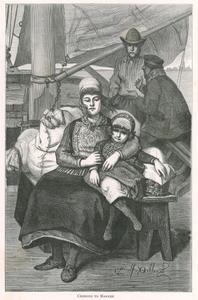 Vier figuren op een boot