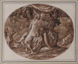Venus en Adonis en slapende Cupido