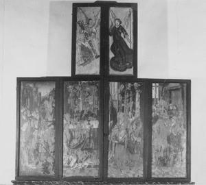 Abraham en Melchizedek, de Gregoriusmis (buitenzijde linkerluik); De Gregoriusmis, het Laatste Avondmaal (buitenzijde rechterluik); Engelen met de Arma Christi (buitenzijde bovenluiken)