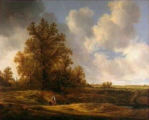 Landschap met boerenhoeve onder bomen