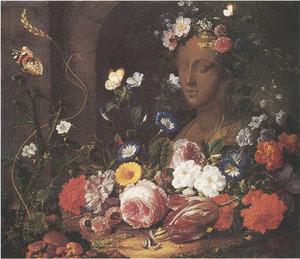 Bloemen rond een vrouwenbuste, waarschijnlijk de godin Flora