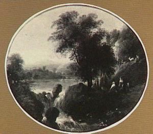 Landschap met herderspaar naast een waterval