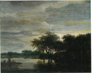 Boslandschap met een meer