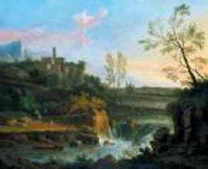Italianiserend riviergezicht met waterval