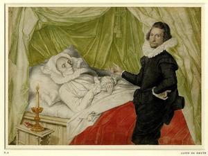 Portret van een man bij het doodsbed van een vrouw