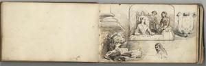 Studies van stilleven, drie vrouwen, wapenschild en man