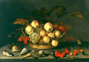 Vruchten in een rieten mand, schelpen, kersen en een hagedis, op een stenen plint
