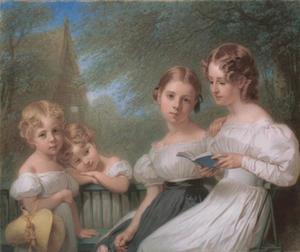 Familieportret van vier zusjes, waarschijnlijk dochters van Willem van Loon (1786-1876)