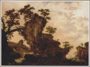 Berglandschap met een houten brug en reizigers onderweg