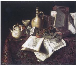 Stilleven met boeken en vaatwerk
