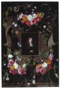 Rozenguirlandes op een gebeeldhouwde cartouche waarin een portret van een man
