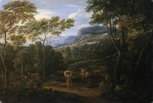 Landschap met wasvrouwen