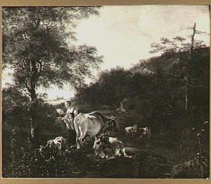 Landschap met herderin en vee