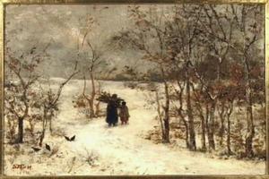 Sneeuwlandschap met sprokkelende vrouw