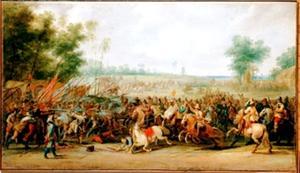 Schermutseling tussen cavalerie en infanterie