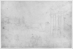 Rome, gezicht op het Forum Romanum vanaf de Santi Cosma en Damiano