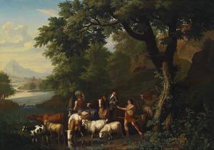Een ruiter in gesprek met herders bij een rivier