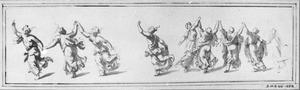 Dansende bacchantes in klassiek gewaad