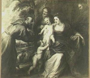 De Heilige Familie met de HH. Franciscus, Anna en Johannes de Doper als kind