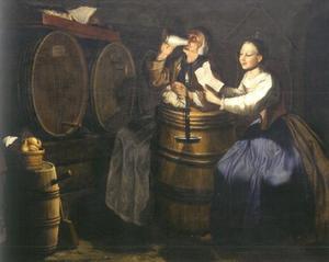 Een oude vrouw drinkend en een jonge vrouw een brief lezend in een wijnkelder
