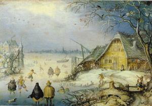 Winterlandschap met schaatsende figuren op het ijs