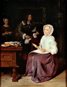 Man met een kruik die wijn aanbiedt aan een vrouw met een glas in de hand
