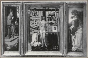 God (binnenzijde links), Christus als Man van Smarten met de Trap des Heils (midden), Maria en abt Antonius Tsgrooten (binnenzijde rechts); Mijter met stralenbundel (buitenzijde links), Boom met wapenschild en abtsstaf (buitenzijde rechts)