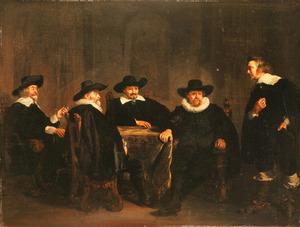 Groepsportret met Cornelis Davelaer, de aankomst van Maria de' Medici aankondigend aan vier wachtende Amsterdamse burgemeesters, 1638