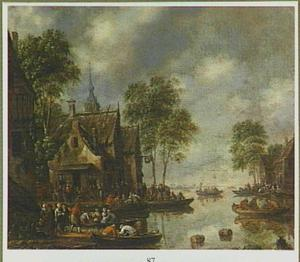 Landschap met talloze figuren kijkend naar het ganstrekken bij een herberg aan een rivier