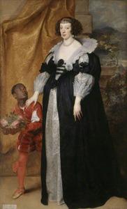 Portret van prinses Henriette de Vaudémont-Phalsbourg, duchesse de Lorraine (1605-1660), met een bediende