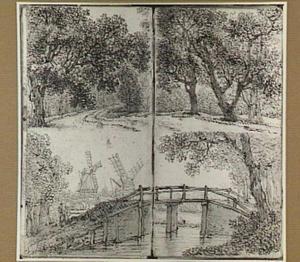Boomrijk landschap en landschap met molens en brug
